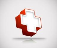 3d czerwony krzyż Obrazy Royalty Free