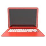3D czerwony laptop odizolowywający na bielu Zdjęcia Royalty Free