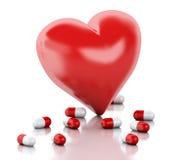 3d czerwony serce z kapsułą pocałunek miłości człowieka koncepcja kobieta ilustracja wektor