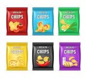 3d détaillé réaliste Chips Advertisement Bag Set Vecteur illustration libre de droits