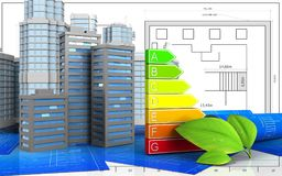 3d. Illustration of city buildings with urban scene over blueprint background Stock Photography