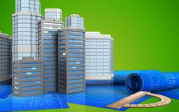 3d. Illustration of city buildings with urban scene over green background Royalty Free Stock Photography