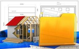 3d. Illustration of frame house over blueprint background Royalty Free Stock Images