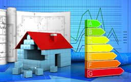 3d. Illustration of house blocks construction with drawings over graph background Stock Image