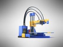 3D 3d printer geeft op grijze achtergrond terug Royalty-vrije Stock Foto's