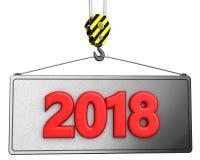 3d dźwigowy haczyk z czerwieni 2018 znakiem Zdjęcia Royalty Free