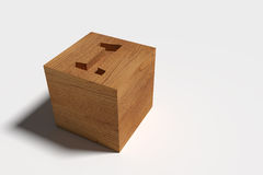 3D da caixa de madeira no fundo branco Fotos de Stock Royalty Free