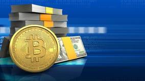 3d da pilha do dinheiro ilustração stock