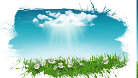 3D daisies in grass with cloud with grunge splat effect Stock Photo