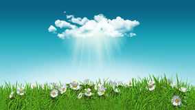 3D daisies in grass with cloud Royalty Free Stock Photo