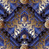 3d Damask floral rhombus seamless pattern. Damask modern seamless pattern. Dark blue 3d floral striped  background. Gold vintage flowers, strires, surface lace Royalty Free Stock Photography