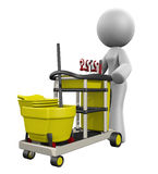 3d Dame Cleaning Cart Stock Fotografie