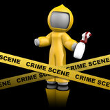 3d Dame Crime Scene Cleaner op Dark Stock Fotografie