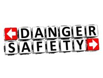 3D Danger Safety Button Click Here Block Text Royalty Free Stock Image