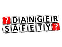 3D Danger Safety Button Click Here Block Text Royalty Free Stock Photography