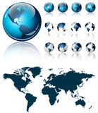 A 3d dark blue world map on shiny icon design with four different views Royalty Free Stock Photography