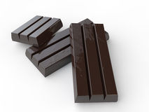3d dark chocolate bars. 3d render of dark chocolate bars on white background Stock Photography