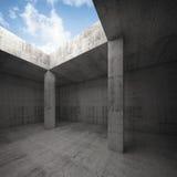 3d dark concrete room interior with columns Stock Photo