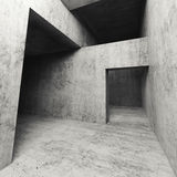 3d dark empty concrete interior with doorways. Abstract dark empty concrete interior with doorways, square 3d illustration Royalty Free Stock Photos