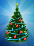 3d dark green Christmas tree over blue. 3d illustration of dark green Christmas tree with blue ribbons over blue background Royalty Free Stock Image