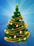 3d dark green Christmas tree over blue. 3d illustration of dark green Christmas tree with golden tinsel over blue background Royalty Free Stock Photo