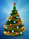 3d dark green Christmas tree over blue. 3d illustration of dark green Christmas tree with golden tinsel over blue background Royalty Free Stock Images