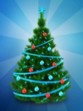 3d dark green Christmas tree over blue. 3d illustration of dark green Christmas tree with blue ribbons over blue background Stock Photo