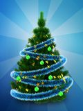 3d dark green Christmas tree over blue. 3d illustration of dark green Christmas tree with blue tinsel over blue background Royalty Free Stock Image