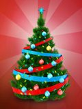 3d dark green Christmas tree over red. 3d illustration of dark green Christmas tree with ribbons over red background Royalty Free Stock Photo