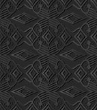 3D dark paper art Check Cross Aboriginal Geometry Line. Vector stylish decoration pattern background for web banner greeting card design Stock Photo