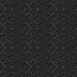 3D dark paper art Geometry Cross Square Check Dot Frame Line. Vector stylish decoration pattern background for web banner greeting card design Royalty Free Stock Photography