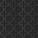 3D dark paper art Islamic geometry cross pattern seamless backgr. Ound, Vector stylish decoration pattern background for web banner greeting card design Stock Images