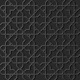 A 3D dark paper art Islamic geometry cross pattern seamless backgr. 3D dark paper art Islamic geometry cross pattern seamless background, Vector stylish Stock Photo