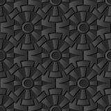 3D dark paper art Round Gear Cross Geometry Flower. Vector stylish decoration pattern background for web banner greeting card design Royalty Free Stock Image