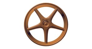 3D Dark-Wooden Spoked Wheel Stock Image