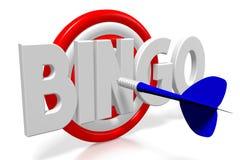 3D darts illustration - bingo. 3D dartboard - blue arrow, white letters, white background - `bingo Stock Photo