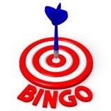 3D dartboard concept - `bingo`. 3D red and white dartboard and blue arrow - `bingo` word Stock Photo