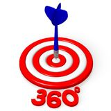 3D dartboard concept - `360 degrees`. 3D red and white dartboard and blue arrow - `360 degrees` word Stock Photos