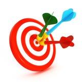 3d dartboard met kleurrijke pijltjes Royalty-vrije Stock Foto