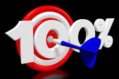 3D dartboard pojęcie - ` 100% ` Fotografia Stock