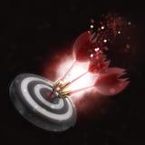 3D darts hitting the bullseye. 3D render of darts hitting the bullseye Royalty Free Stock Photos