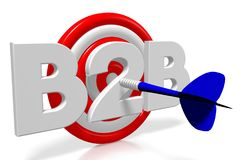 3D darts illustration - B2B business to business. 3D dartboard - blue arrow, white letters, white background - `B2B`. Great for topics like business to business Stock Images