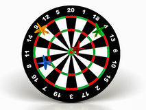 3d darts on target. On a white background Royalty Free Stock Photos