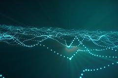 3d, das abstrakten polygonalen Wellenhintergrund mit Verbindungspunkten und Linien überträgt Verbindungsstruktur Computer HUD flu Stockfoto