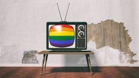 3d, das altes Fernsehen mit homosexuellem Flaggenschirm überträgt Lizenzfreie Stockbilder