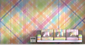 3D, das bunten Rauminnenraumhintergrund überträgt Stockfotos