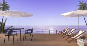 3d, das den netten Strand speist Satz mit Bank auf hölzerner Terrasse nahe Meer überträgt Lizenzfreie Stockfotos