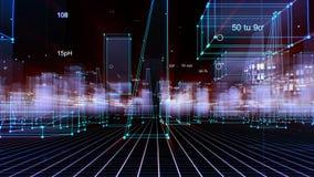 3D, das den technologischen digitalen Hintergrund besteht aus einer futuristischen Stadt mit Daten überträgt vektor abbildung