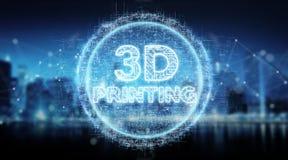 3D, das digitale Wiedergabe des Texthologrammhintergrundes 3D druckt Stockfotos