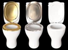 3D, das einen Satz einer Toilettenschüssel mit Farben Gold, Chrom, überträgt vektor abbildung